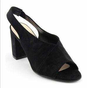 Black Suede open Block Heels shoes